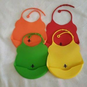 Busy Bee Silicone Baby Bib Bundle Of 4 BPA Free